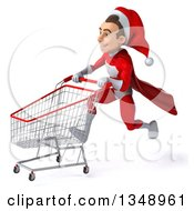 Clipart Of A 3d Young White Male Super Hero Santa Sprinting To The Left With A Shopping Cart Royalty Free Illustration