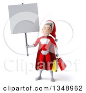 Clipart Of A 3d Young White Male Super Hero Santa Holding Shopping Bags And A Blank Sign Royalty Free Illustration by Julos