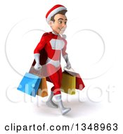 3d Young White Male Super Hero Santa Walking To The Right And Holding Shopping Bags