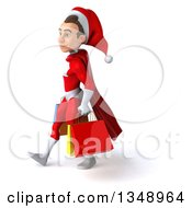 Clipart Of A 3d Young White Male Super Hero Santa Walking To The Left And Holding Shopping Bags Royalty Free Illustration by Julos