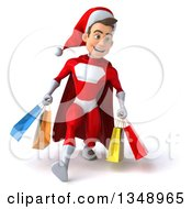 Clipart Of A 3d Young White Male Super Hero Santa Speed Walking And Holding Shopping Bags Royalty Free Illustration by Julos
