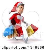 Clipart Of A 3d Young White Male Super Hero Santa Speed Walking To The Right And Holding Shopping Bags Royalty Free Illustration by Julos