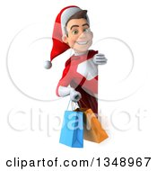 Clipart Of A 3d Young White Male Super Hero Santa Holding Shopping Bags Around A Sign Royalty Free Illustration by Julos