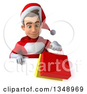 Clipart Of A 3d Young White Male Super Hero Santa Holding Shopping Bags Over A Sign Royalty Free Illustration by Julos