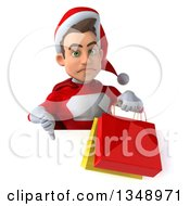 Clipart Of A 3d Young White Male Super Hero Santa Holding Shopping Bags And Giving A Thumb Down Over A Sign Royalty Free Illustration by Julos