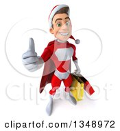 Clipart Of A 3d Young White Male Super Hero Santa Holding Up A Thumb And Shopping Bags Royalty Free Illustration by Julos