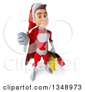Clipart Of A 3d Young White Male Super Hero Santa Holding Up A Thumb Down And Shopping Bags Royalty Free Illustration by Julos