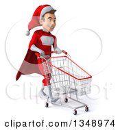 Clipart Of A 3d Young White Male Super Hero Santa Walking To The Right With A Shopping Cart Royalty Free Illustration by Julos