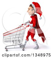 Clipart Of A 3d Young White Male Super Hero Santa Walking To The Left With A Shopping Cart Royalty Free Illustration by Julos