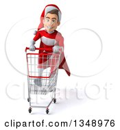 Clipart Of A 3d Young White Male Super Hero Santa Sprinting With A Shopping Cart Royalty Free Illustration by Julos