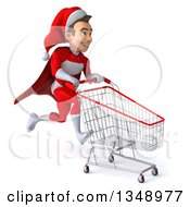 3d Young White Male Super Hero Santa Sprinting To The Right With A Shopping Cart