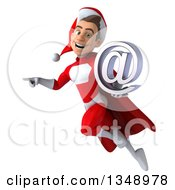 3d Young White Male Super Hero Santa Holding An Email Arobase At Symbol Flying And Pointing
