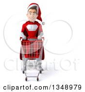Clipart Of A 3d Young White Male Super Hero Santa With A Shopping Cart Royalty Free Illustration