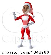 Clipart Of A 3d Young Black Male Christmas Super Hero Santa Holding Up A Finger Royalty Free Illustration by Julos