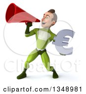 Clipart Of A 3d Young White Male Super Hero In A Green Suit Holding A Euro Currency Symbol And Using A Megaphone Royalty Free Illustration