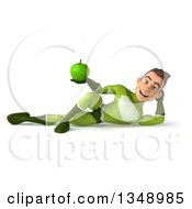 Clipart Of A 3d Young White Male Super Hero In A Green Suit Holding A Green Apple And Resting On His Side Royalty Free Illustration by Julos
