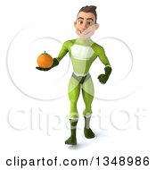 Clipart Of A 3d Young White Male Super Hero In A Green Suit Holding A Navel Orange And Walking Royalty Free Illustration by Julos