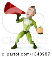Clipart Of A 3d Young White Male Super Hero In A Green Suit Holding A Navel Orange And Using A Megaphone Royalty Free Illustration