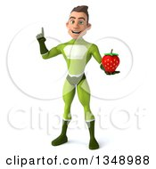 Clipart Of A 3d Young White Male Super Hero In A Green Suit Holding Up A Finger And A Strawberry Royalty Free Illustration by Julos
