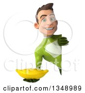 Clipart Of A 3d Young White Male Super Hero In A Green Suit Holding A Banana Around A Sign Royalty Free Illustration by Julos