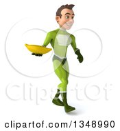 Clipart Of A 3d Young White Male Super Hero In A Green Suit Holding A Banana And Walking To The Right Royalty Free Illustration by Julos