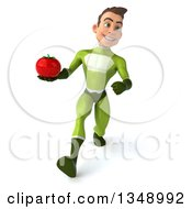 Clipart Of A 3d Young White Male Super Hero In A Green Suit Holding A Tomato And Speed Walking Royalty Free Illustration by Julos