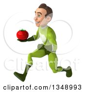 Clipart Of A 3d Young White Male Super Hero In A Green Suit Holding A Tomato And Sprinting To The Left Royalty Free Illustration by Julos