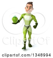 Clipart Of A 3d Young White Male Super Hero In A Green Suit Holding A Green Bell Pepper And Walking Royalty Free Illustration by Julos