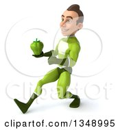 Clipart Of A 3d Young White Male Super Hero In A Green Suit Holding A Green Bell Pepper And Speed Walking To The Left Royalty Free Illustration by Julos