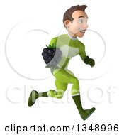 Clipart Of A 3d Young White Male Super Hero In A Green Suit Holding A Blackberry And Sprinting To The Right Royalty Free Illustration by Julos