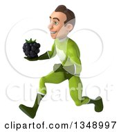 Clipart Of A 3d Young White Male Super Hero In A Green Suit Holding A Blackberry And Sprinting To The Left Royalty Free Illustration by Julos