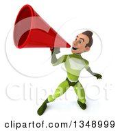 Clipart Of A 3d Young White Male Super Hero In A Green Suit Using A Megaphone Royalty Free Illustration