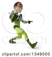 Clipart Of A 3d Young Black Male Super Hero In A Green Suit Holding A Dumbbell Pointing And Walking To The Right Royalty Free Illustration by Julos
