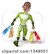 Clipart Of A 3d Young Black Male Super Hero In A Green Suit Speed Walking With Shopping Bags Royalty Free Illustration by Julos