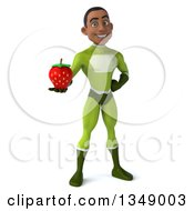 Clipart Of A 3d Young Black Male Super Hero In A Green Suit Holding A Strawberry Royalty Free Illustration by Julos