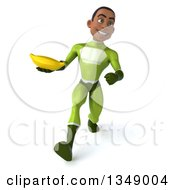 Clipart Of A 3d Young Black Male Super Hero In A Green Suit Holding A Banana And Speed Walking Royalty Free Illustration by Julos