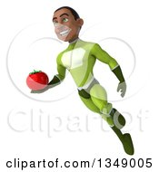Clipart Of A 3d Young Black Male Super Hero In A Green Suit Holding A Tomato And Flying Royalty Free Illustration by Julos