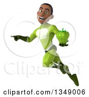 Clipart Of A 3d Young Black Male Super Hero In A Green Suit Holding A Green Bell Pepper Flying And Pointing Royalty Free Illustration by Julos