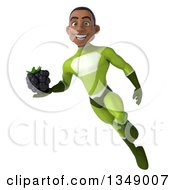 Clipart Of A 3d Young Black Male Super Hero In A Green Suit Holding A Blackberry And Flying Royalty Free Illustration by Julos