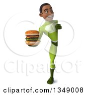 Clipart Of A 3d Full Length Young Black Male Super Hero In A Green Suit Holding A Double Cheeseburger Around A Sign Royalty Free Illustration by Julos
