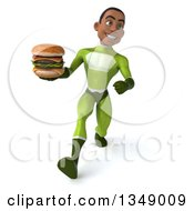 Clipart Of A 3d Young Black Male Super Hero In A Green Suit Holding A Double Cheeseburger And Speed Walking Royalty Free Illustration by Julos