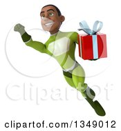 Clipart Of A 3d Young Black Male Super Hero In A Green Suit Holding A Gift And Flying Royalty Free Illustration by Julos