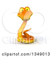 Clipart Of A 3d Happy Orange Snake Royalty Free Illustration