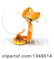 Clipart Of A 3d Happy Orange Snake Facing Right Royalty Free Illustration by Julos