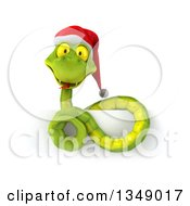 Clipart Of A 3d Green Christmas Snake Wearing A Santa Hat Over A Sign Royalty Free Illustration by Julos