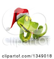 Clipart Of A 3d Green Christmas Snake Wearing A Santa Hat 7 Royalty Free Illustration by Julos