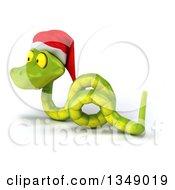 Clipart Of A 3d Green Christmas Snake Wearing A Santa Hat 8 Royalty Free Illustration by Julos