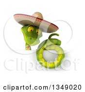 Clipart Of A 3d Green Mexican Snake Wearing A Sombrero Hat Over A Sign Royalty Free Illustration by Julos
