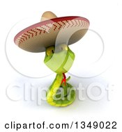 Clipart Of A 3d Green Mexican Snake Wearing A Sombrero Hat And Looking Up Royalty Free Illustration by Julos