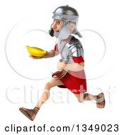 Clipart Of A 3d Young Male Roman Legionary Soldier Holding A Banana And Sprinting To The Left Royalty Free Illustration